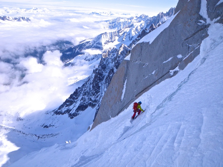 Steep skiing in Aiguille du Midi North Face (Mallory Eugster)