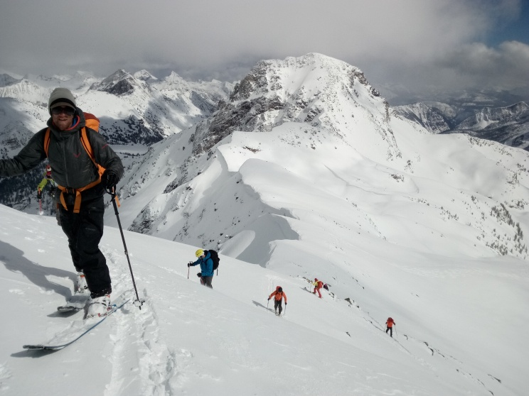 Russel Hulbert and the group up into the Alpine Valhallas, a real paradise for backcountry skiing