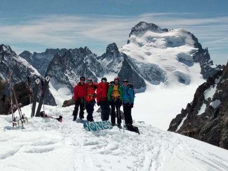 Ski touring in the ECRINS National Park, France. The steepest skiing terrain in the Alps.